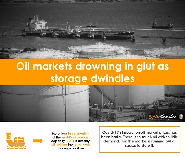 Oil markets drowning in glut as storage dwindles